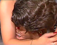 Blonde and brunette lesbos receives every other's soaked snatches