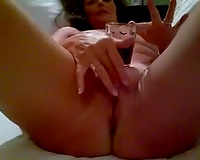 My enchanting cougar white women is bare and playful in bed after dinner