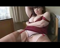 Mature and breasty white dirty slut wife in hawt red costume