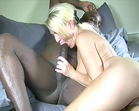 Amateur blonde wife gushing for a big black cock