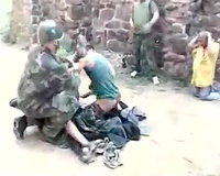 Soldiers kidnapped gang-raping a hot brunette wife