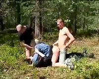 Four-some outdoors rape this wife scene
