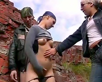 Two pervert girls rape a guy outdoors