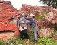 Two pervert girls rape a guy outdoors
