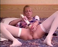 My slutty wife giant insertions pussy and asshole