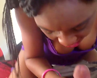 African beauty with cute braids could not stop engulfing my buddy's lollicock