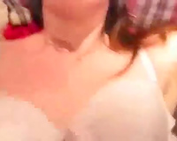 My miniature white honey in pink corset tops my large cock like a cowgirl