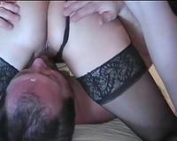 A good bisexual pervert husband cuckold waits under his slutty wife
