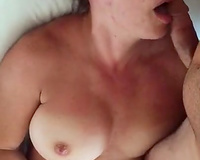 My slutty wife likes to masturbate with cum on her face