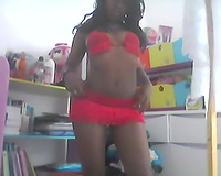 Svelte glamorous chocolate web camera nympho posed for me in her underware