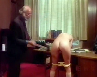 Sexy golden-haired bitch sucks the 10-Pounder of the old man in the office