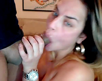 Strong squinted dilettante web camera brunette hair sucked her man's pecker