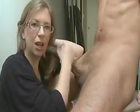 Mistress T sucking dick with glasses on + taking a facial