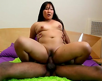 Thick asian wife fucks BBC! Her married asian pussy