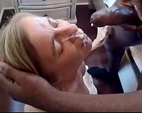 Mature white wife first BBC experiment - the facial
