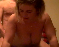 Short haired bitch! Sexy big boobed blonde fucking on the couch