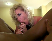 Whore wife worshipping BBC cock and balls