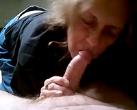 Ugly as fuck indecent haired wrinkled old hooker sucks my buddy's dong