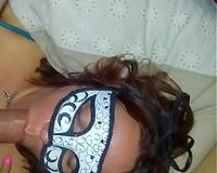 Cuckold wife halloween mask BBC blowjob