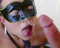 Sexy wearing a mask a wife rides hard cock
