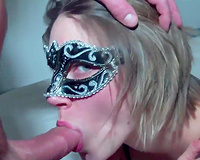 Wife in mask takes BBC cum in mouth