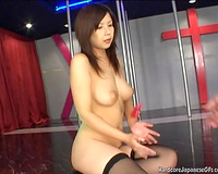 Exquisite curvaceous Asian golddigger masturbating on the stage