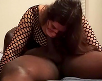 Wife fucking Black Lover in fishnets
