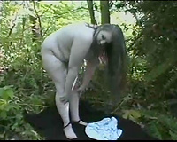 Masturbation of my voluptuous big beautiful woman girlfriend in the forest