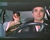 Hot lean white babe masturbates on the backseat of the car