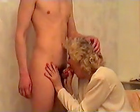 Horny golden-haired maute granny enjoyable and fucking my slender buddy