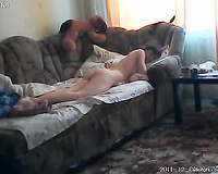 Well endowed stud copulates his housewife on a ottoman early in the morning