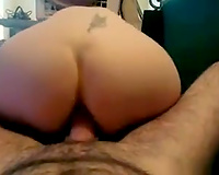 Wild tattooed and pallid amateur wife of my ally likes hardcore doggy pounding