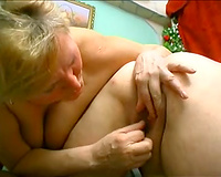 Hot lesbo scene with 2 corpulent aged non-professional blondes