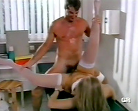 Blonde sweetheart in her hot white tights got her cunt group-fucked