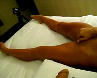 My enchanting suntanned girlfriend rubbing her bawdy cleft in the hotel room