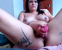 Latina voluptuous milf honey voraciously bonks herself with a sex tool