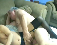 Lucky old fellow receives laid with 2 curvy MILFs in FFM three-some