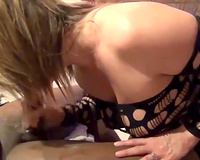 Hot slutty wife shows so much passion sucking BBC for husband