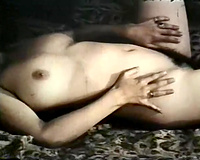 White slutty chick got her constricted twat gangbanged hard in her bedroom