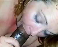Sexy BBW wife feasting and moaning on his BBC