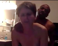 I let my short haired p-ale Married slut go interracial and fuck doggy with BBC owner