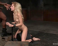 Sensational elegant blond dirty slut wife brought in the basement