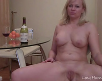 Outstanding golden-haired milf loves drinking and stripping