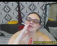 Fat Hairy Mature Smokes And Masturbates