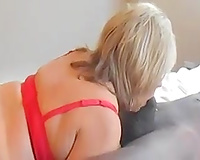 Granny wife sucking young black cock