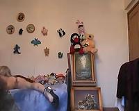 Blonde older breasty lady dressing up on hidden cam episode