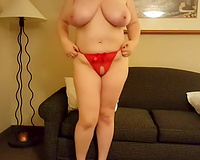 White haired lusty big beautiful woman in red underware stripped biggest boobies and went solo