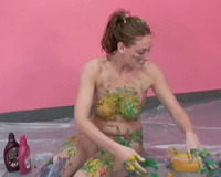Body painting exercises with excited dilettante white slut