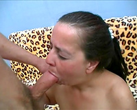 Fat mature honey takes big weenie in her face hole