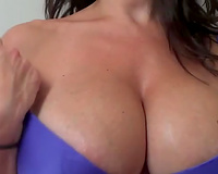 Amateur perverted classy brunette sweetheart in nature's garb her ideal large boobies